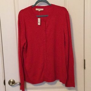 Classic Cherry Red Loft Cardigan NWT